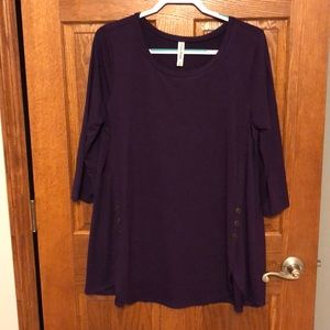 Purple Button Front Tunic Top NWOT